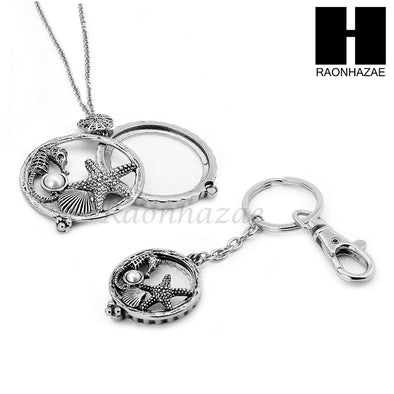 5X Magnifying Glass Starfish Seahorse Key Chain Pendant Chain Necklace Set SJ5S - Raonhazae