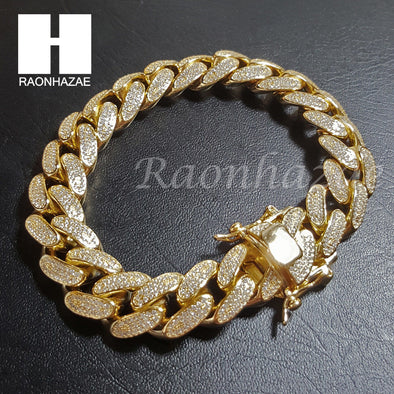 ".925 Sterling Silver Gold Silver 14mm 8.5"" Miami Cuban Bracelet L2 - Raonhazae"