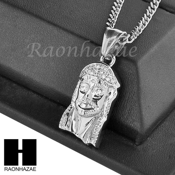 "MENS STAINLESS STEEL ICED OUT JESUS FACE CZ PENDANT 24"" CUBAN NECKLACE SET NP005 - Raonhazae"