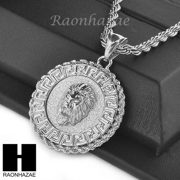 "MENS STAINLESS STEEL LION FACE MEDALLION PENDANT 24"" ROPE CHAIN NECKLACE NP012 - Raonhazae"