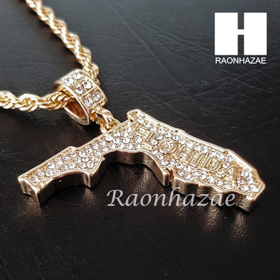 "MEN ICED OUT FLORIDA STATE MAP US PENDANT 30"" CUBAN LINK CHAIN NECKLACE SET S92G - Raonhazae"