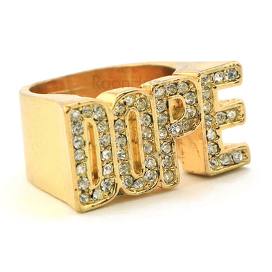 "HIP HOP FASHION ""DOPE ENTERTAINMENT"" GOLD PLATED RING BK009G - Raonhazae"