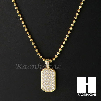 Iced Out Sterling Silver .925 AAA Lab Diamond Mini Dog Tag 2.5mm Moon Chain SS19 - Raonhazae