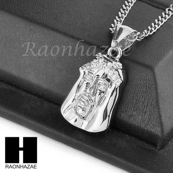 "MENS STAINLESS STEEL ICED OUT JESUS FACE CZ PENDANT 24"" CUBAN NECKLACE SET NP004 - Raonhazae"