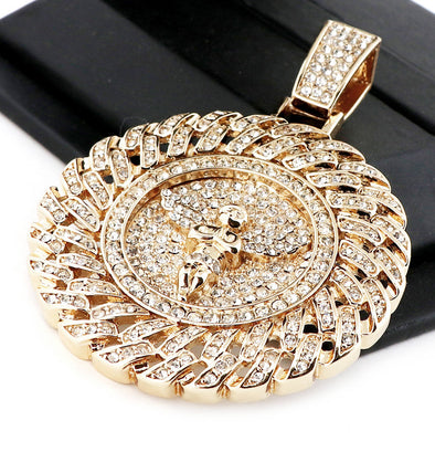 "Men's Iced Out Large Medallion Round Angel Pendant w/ 30""Cuban Link Chain NN035G - Raonhazae"