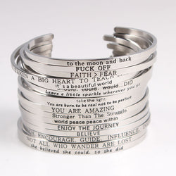 Quotes  Bracelets 316L Stainless Steel Cuff Bangle