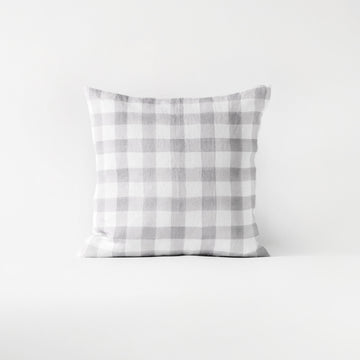 Grey plaid throw pillow cover