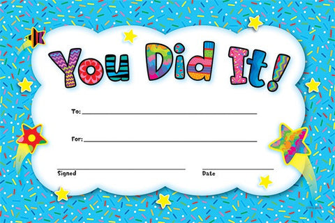You Did It! Award Certificates - Pack of 30