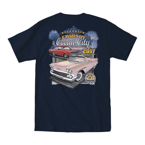2017 Cruisin official classic car show event t-shirt navy blue Ocean City Maryland