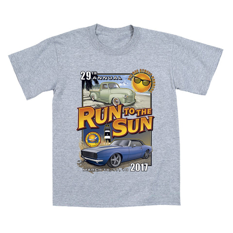 2017 Run to the Sun official classic car show event youth t-shirt athletic gray Myrtle Beach, SC
