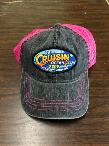 2018 Cruisin official car show event trucker hat gray and pink Ocean City MD