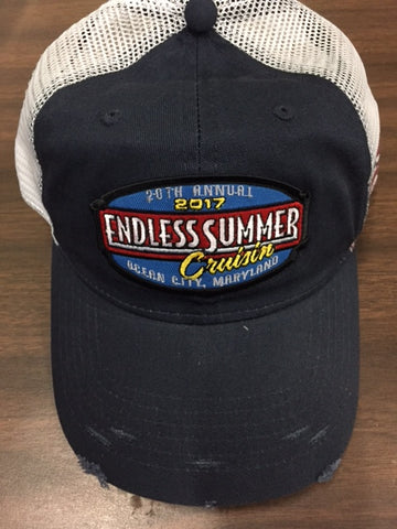 2017 Cruisin Endless Summer official car show event trucker hat blue and white Ocean City MD
