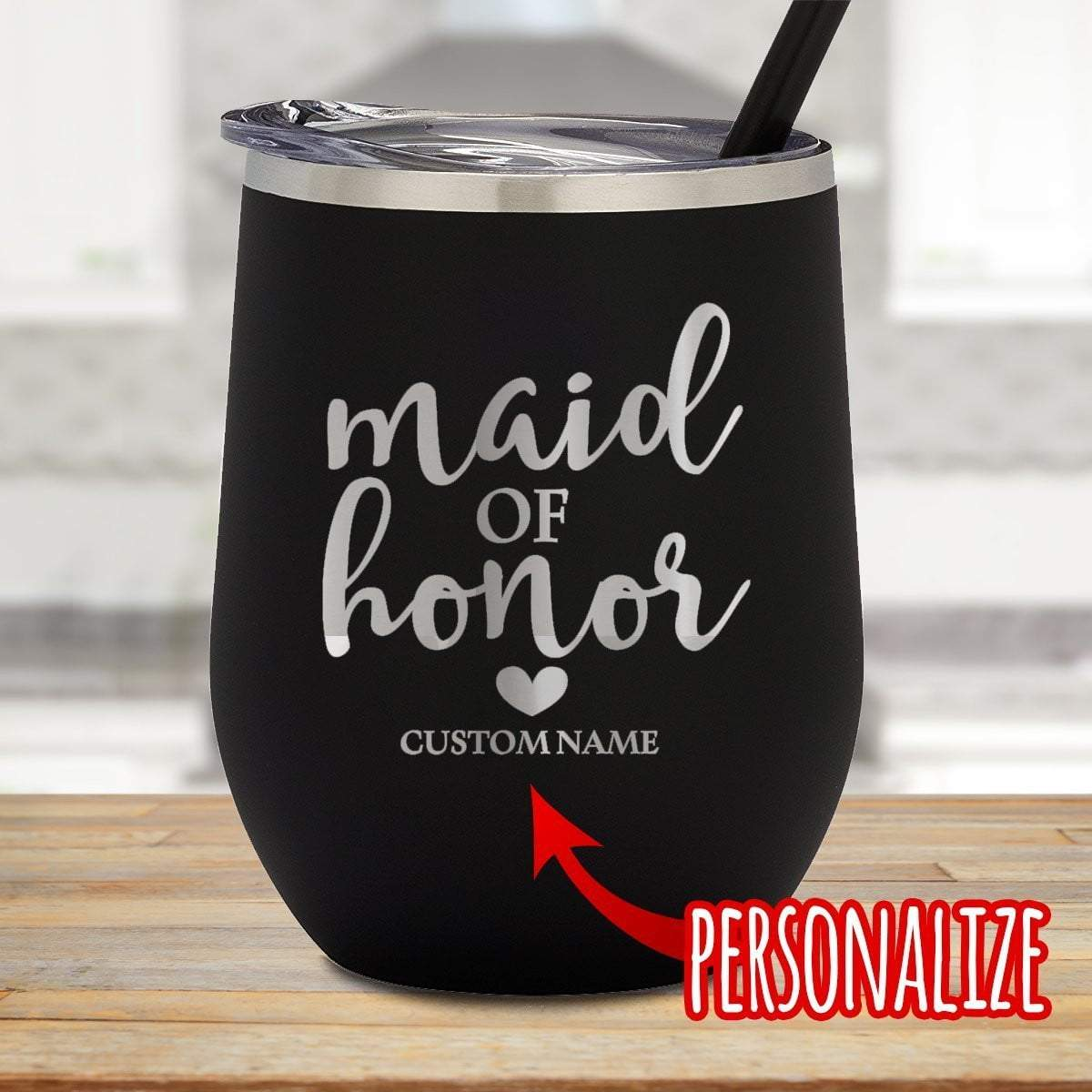 Maid Of Honor Personalized Stemless Wine Glass
