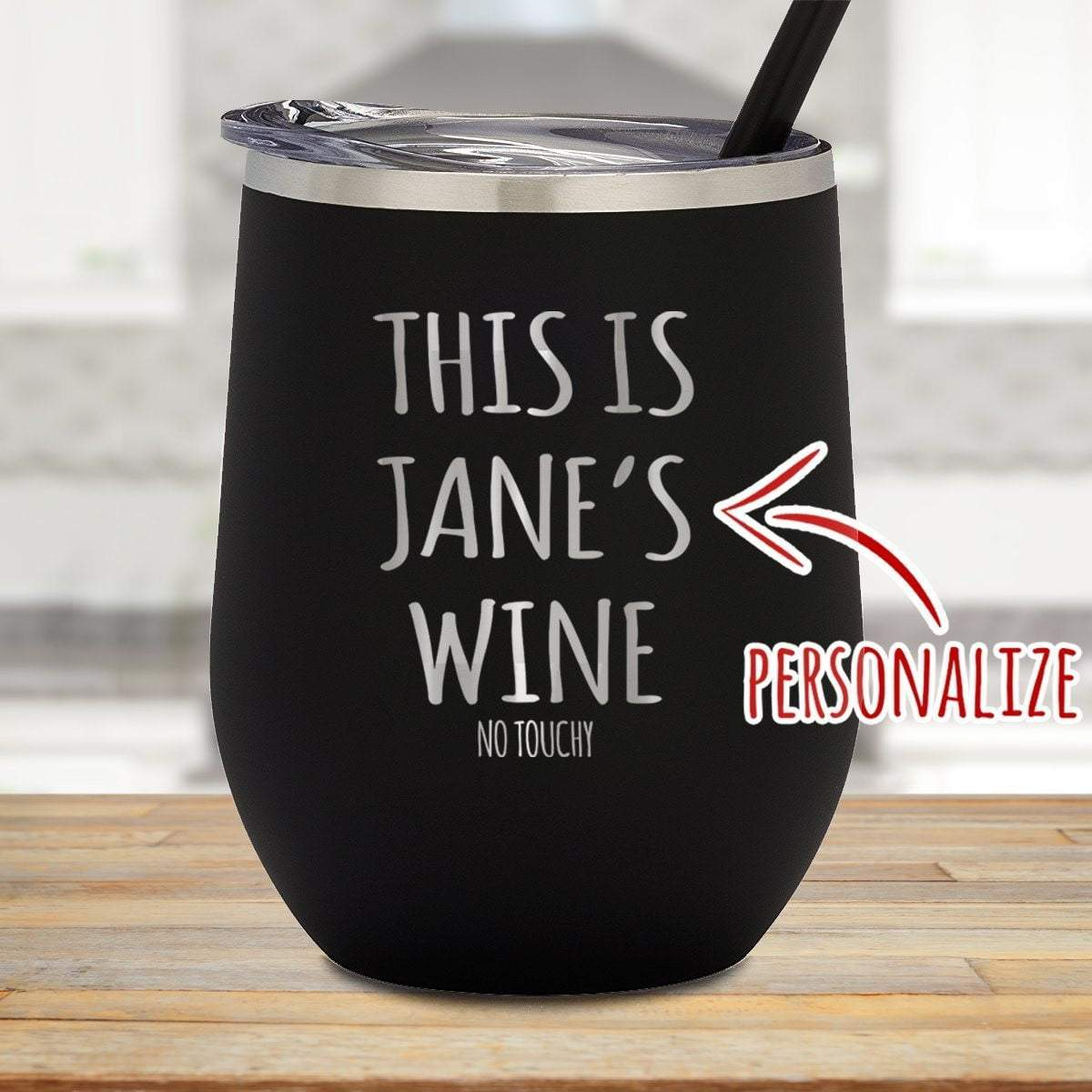 This Is Wine No Touchy Personalized Stemless Wine Glass