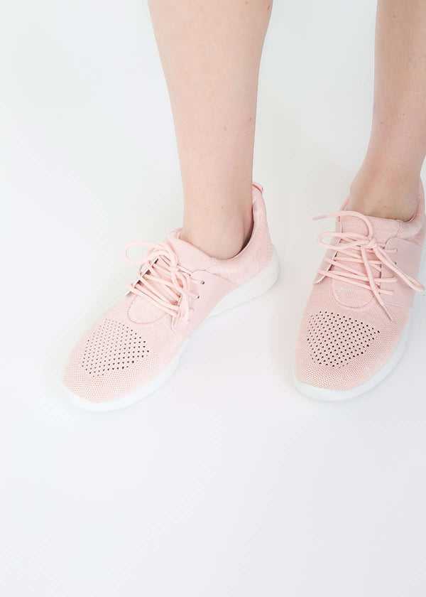 blush colored lace up women's sneaker
