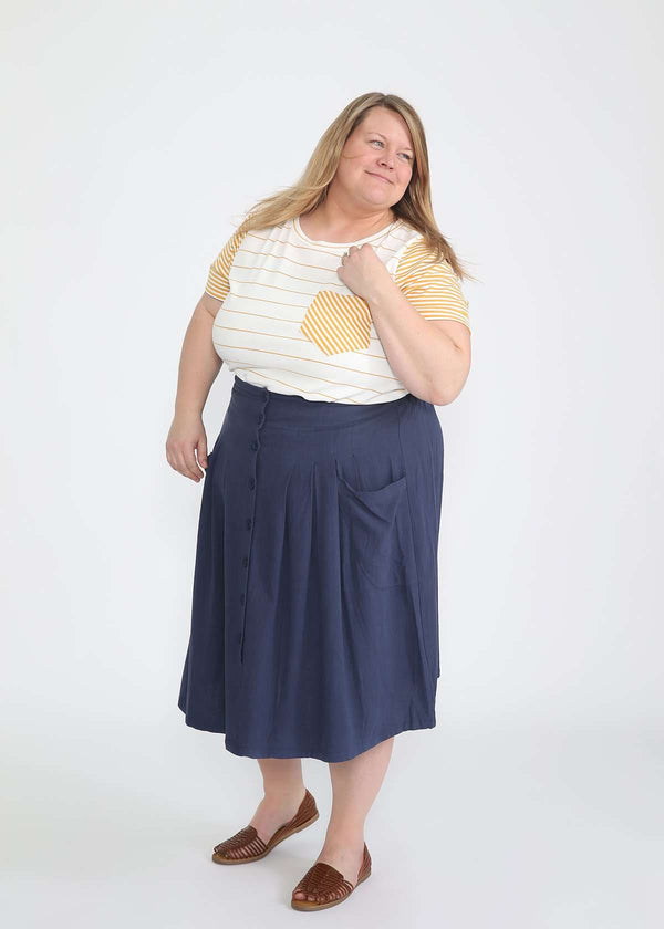 plus size navy button front midi skirt