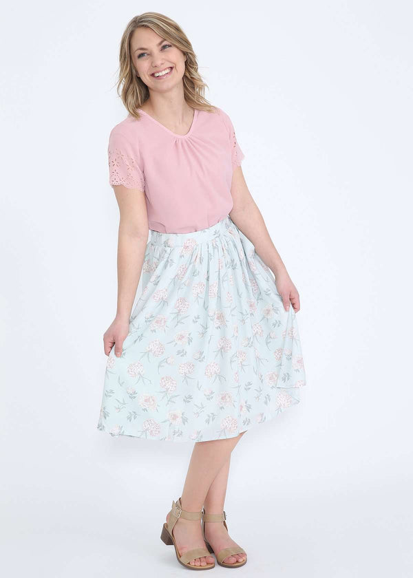 mint and floral modest polyester midi skirt