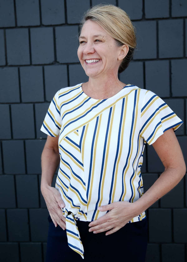 blue and yellow striped tie front top