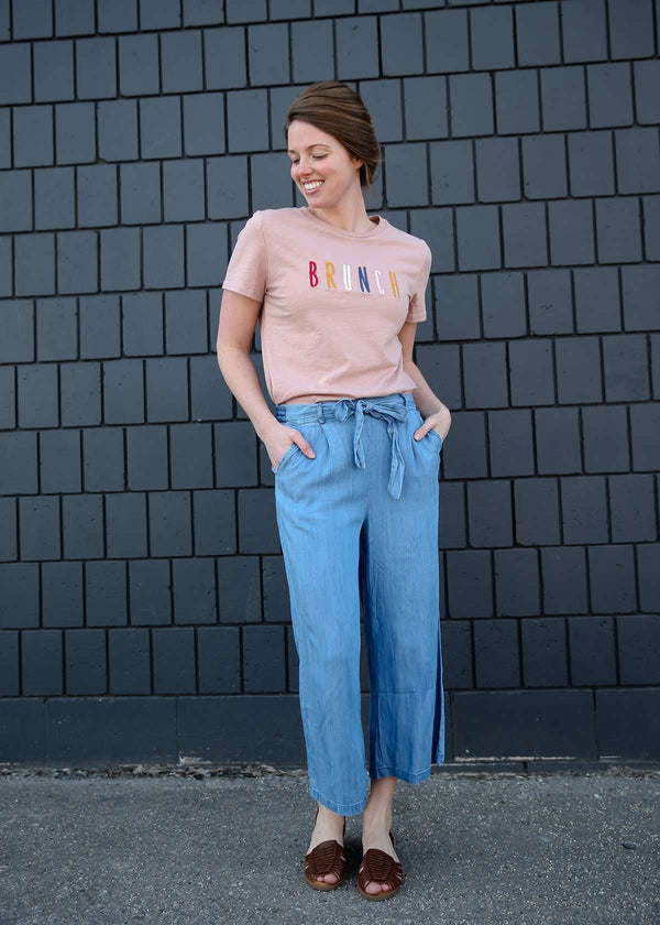 Stretch Self Tie Denim Culottes
