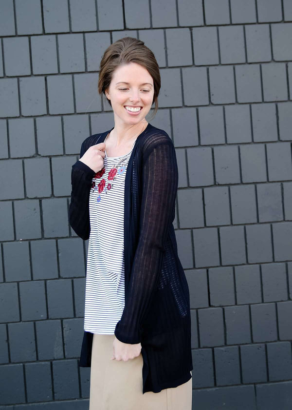 Navy lightweight ribbed cardigan with pockets