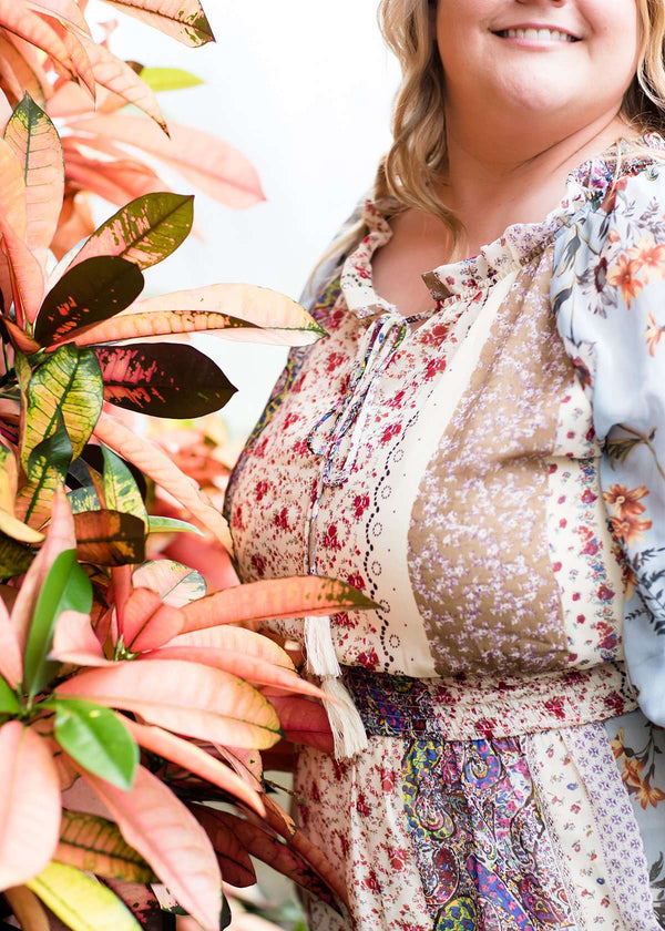 Mixed boho print flowy plus size dress
