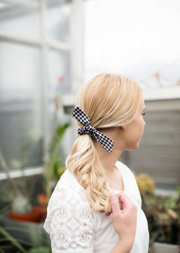 Gingham black or pink bow scrunchie