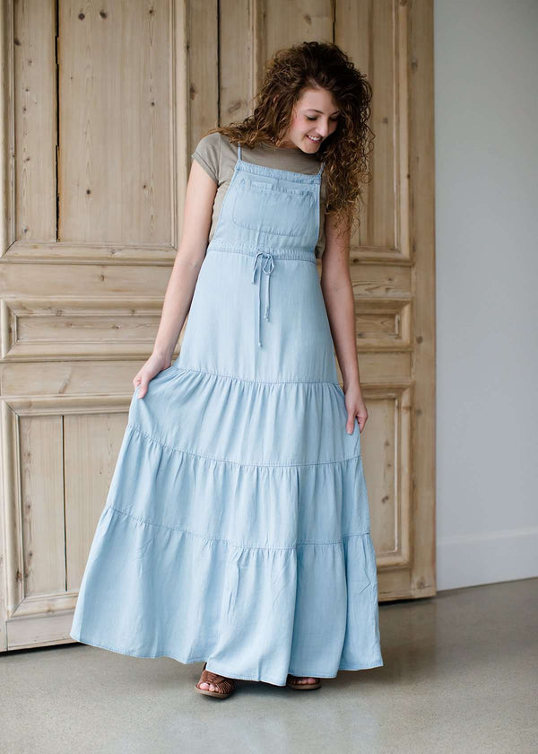 long chambray style tencel tiered maxi dress