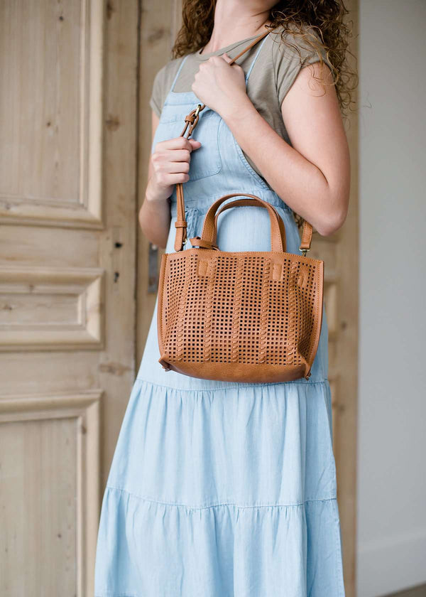perforated mini tote with coin purse