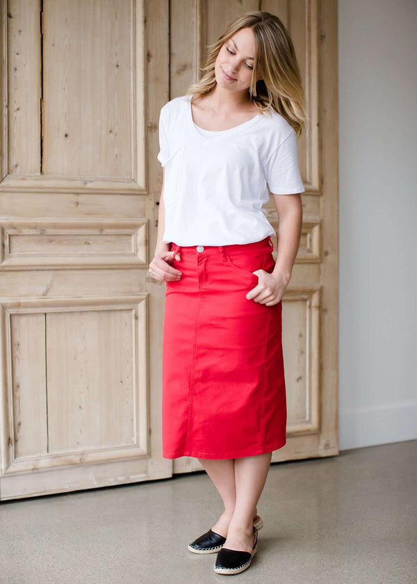 modest women's red midi denim jean skirt