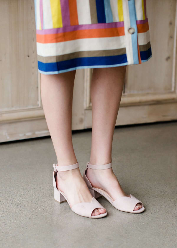 suede nude colored small square stacked heel