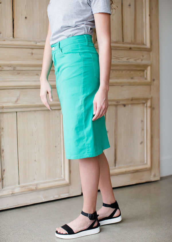 modest women's teal colored below the knee denim skirt