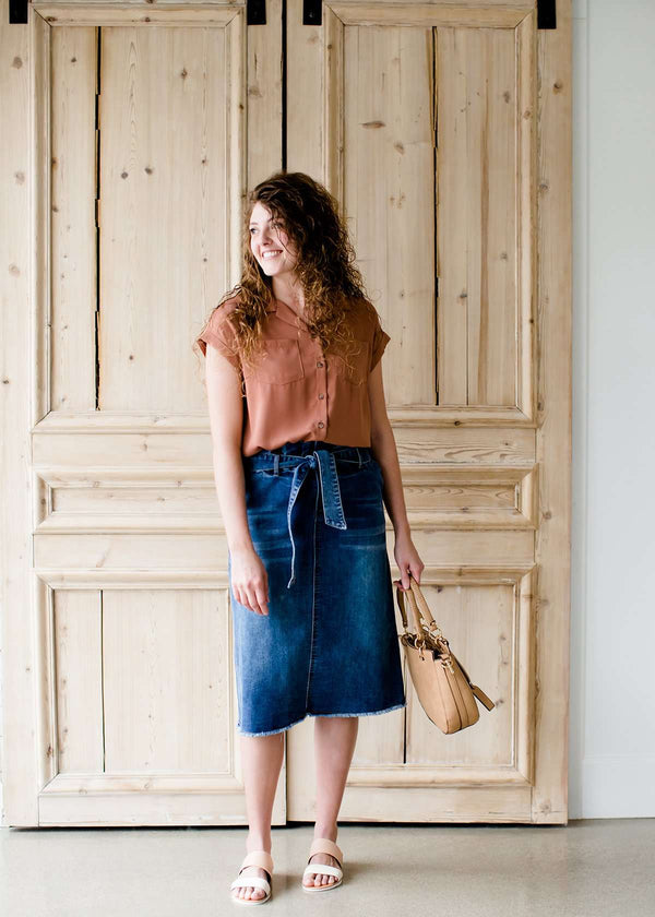 paper bag style dark denim skirt