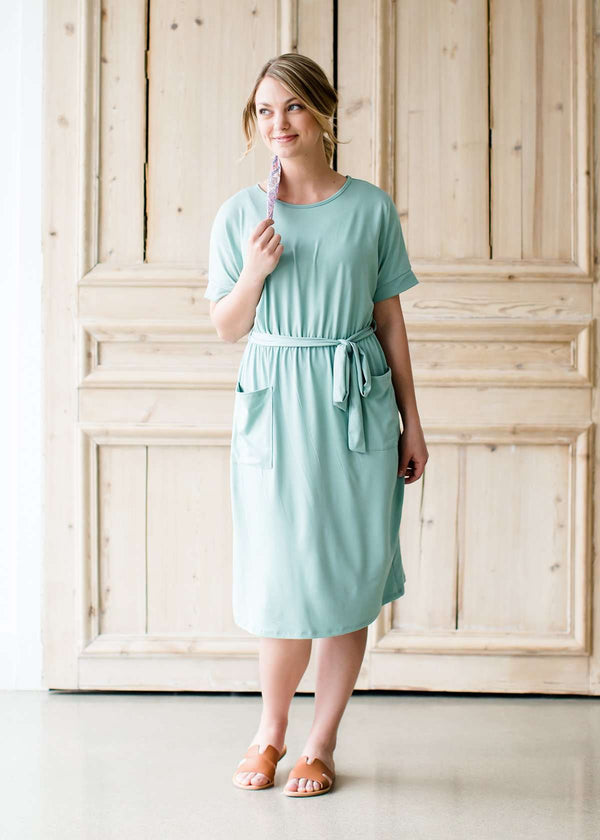 super soft sage pocket midi dress