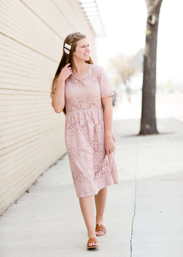 women's modest mauve lace midi dress