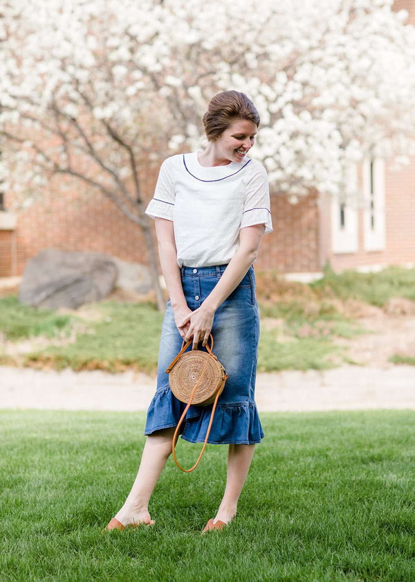 denim ruffle midi jean skirt