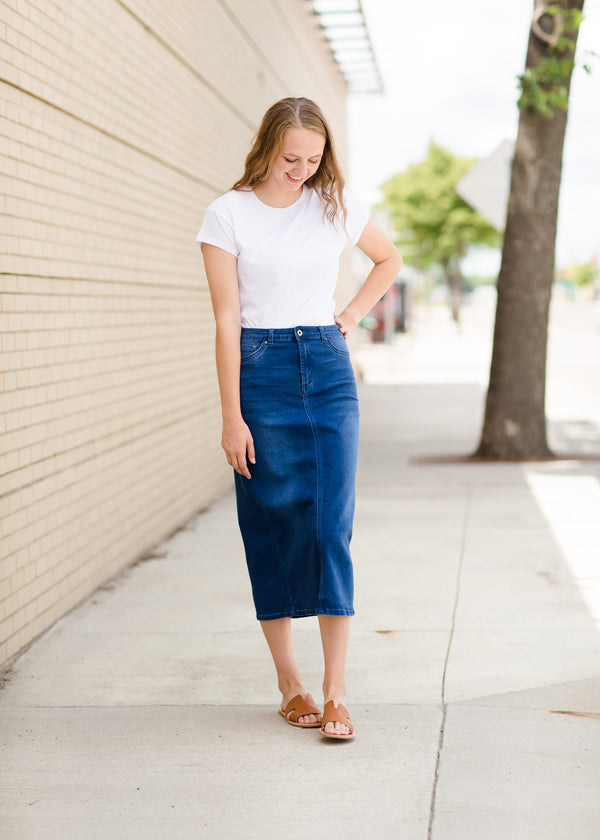 Women's Denim Midi Skirt