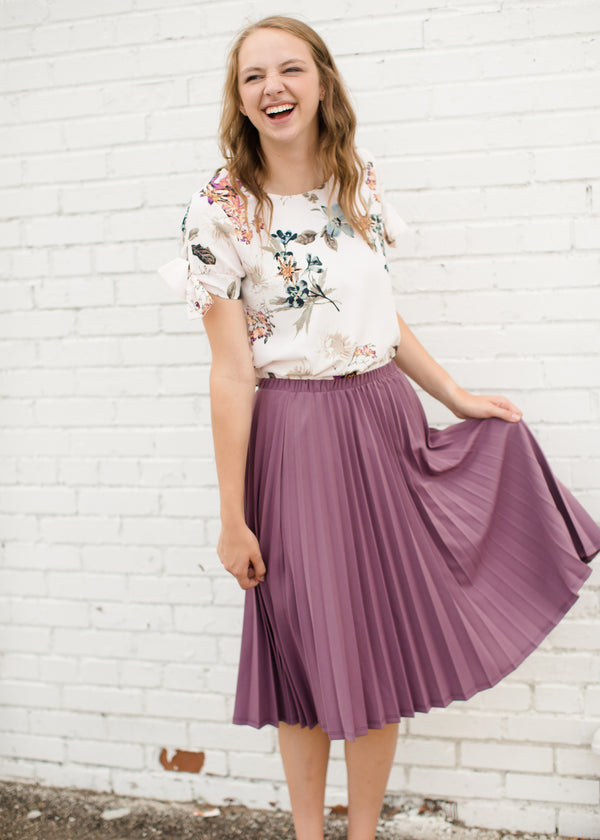 Women's Mauve Pleated Midi Skirt