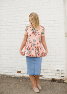 Coral Floral Modest Peplum Top