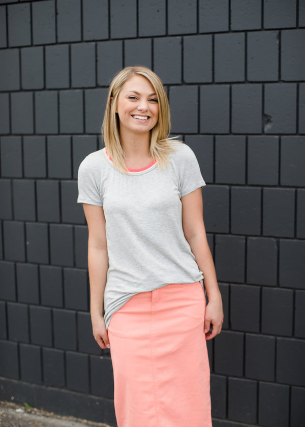 Modest Gray Tee with Coral, Sage, and Blush Neck Detail