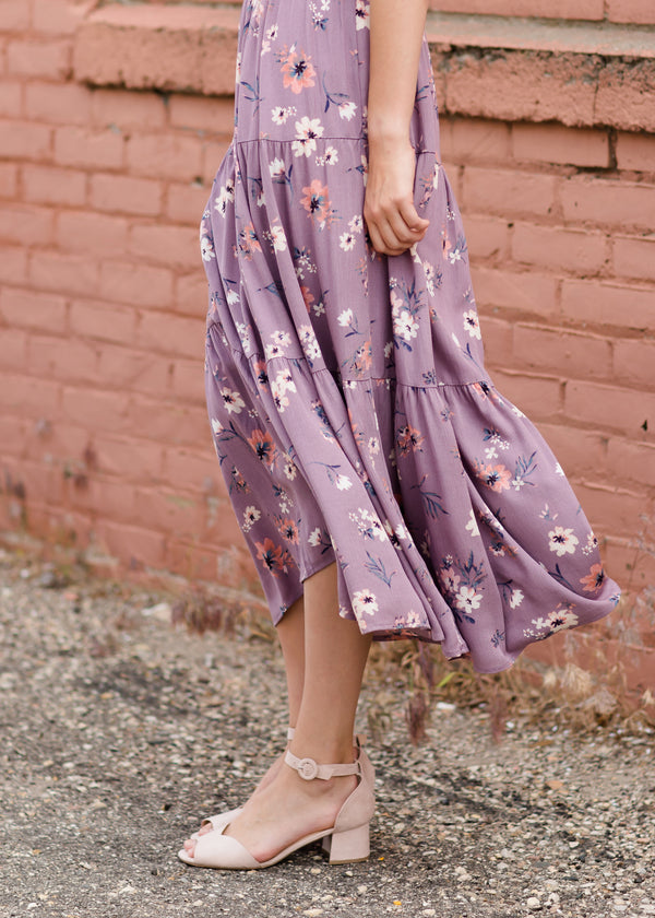 Women's purple maxi skirt with pink floral