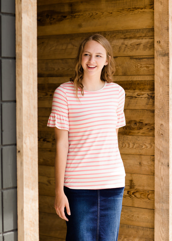 Pink and Cream Striped Modest Women's Top
