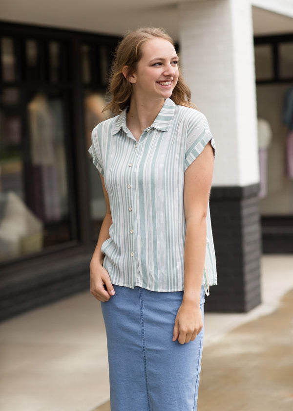 Side Tie Striped Button Up Top