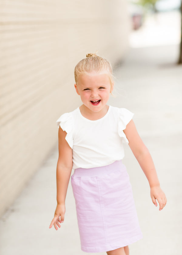 little girls modest purple, mint or black denim midi skirt
