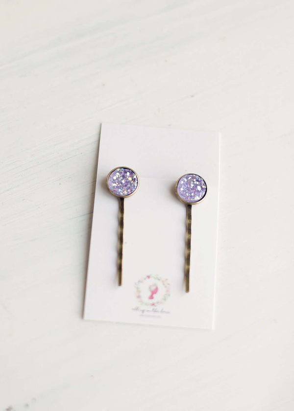 Purple Druzy Bobby Pins - FINAL SALE