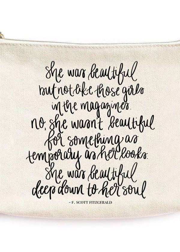 cream make up bag with inspirational quotes and modest design