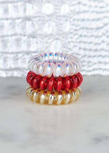 White, red and gold mini hot line hair ties