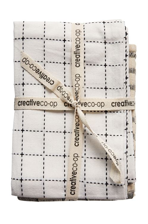 black and white pattern tea towels