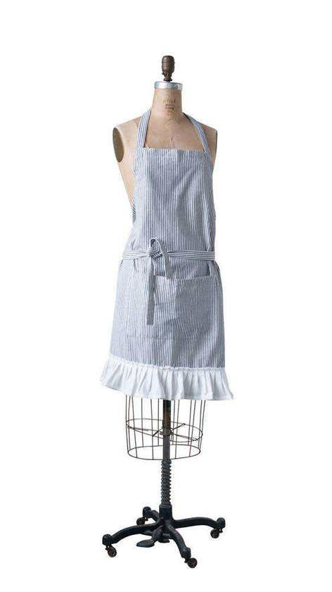 gray and white women's apron with white ruffles