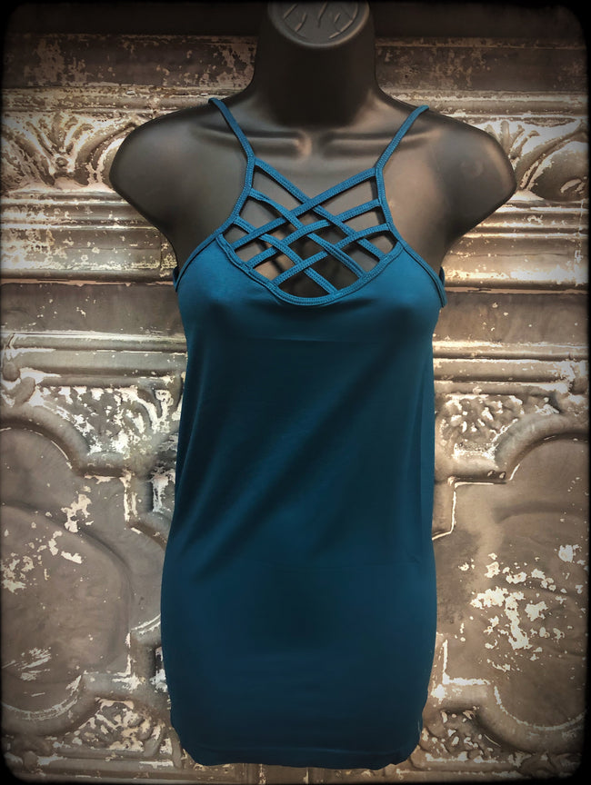 Criss-Cross Cami- Teal - Southern Clothing Boutique