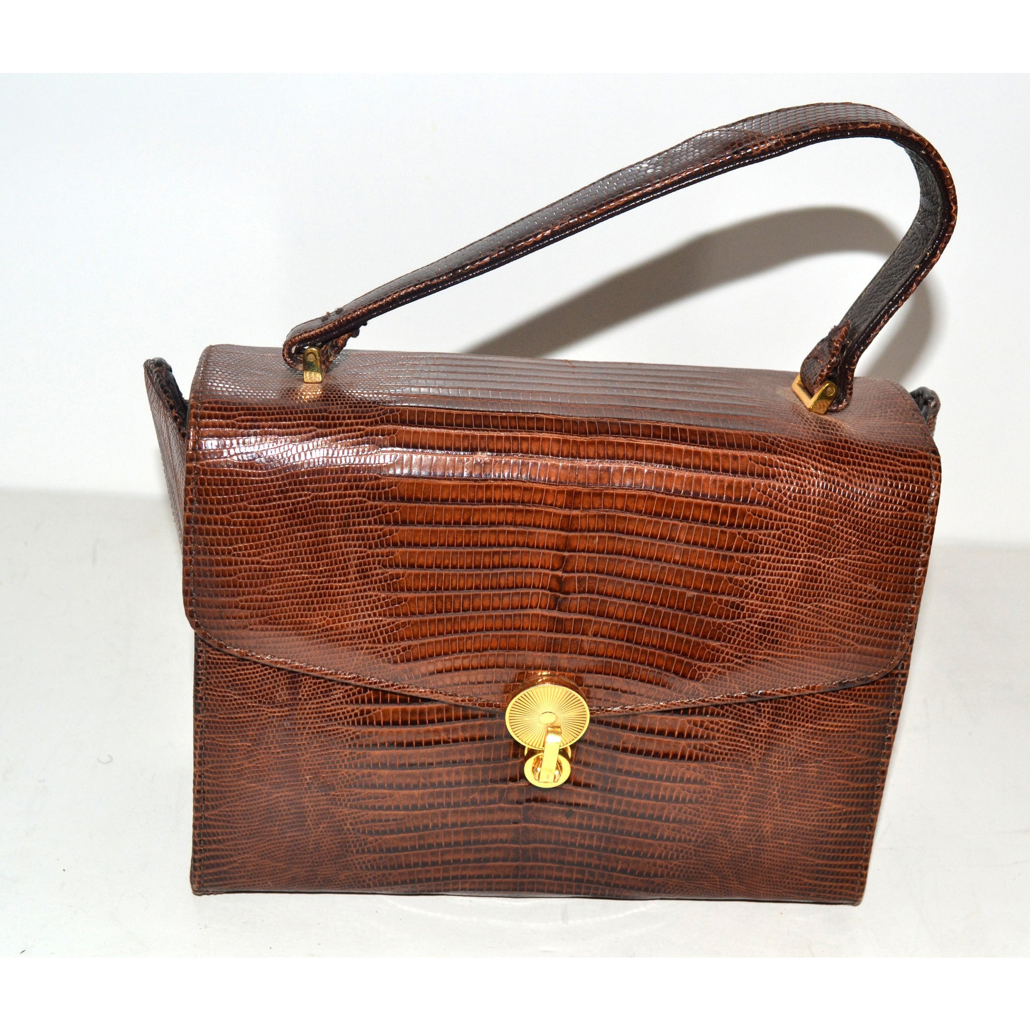 Vintage Brown Lizard Boxed Purse By Sterling